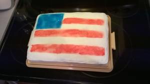 Cake in all its frosted America glory