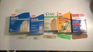 Here are the various bandaids I tried for the allergy experiment